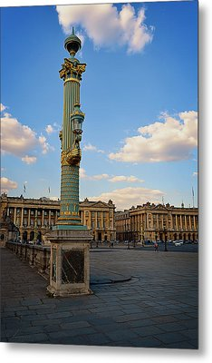 Street Lamps - Place De La Concorde Metal Print by Maria Angelica Maira