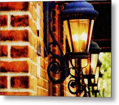 Street Lamps In Olde Town Metal Print by Michelle Calkins