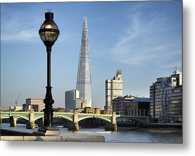 Street Light And Shard Metal Print by Matthew Gibson