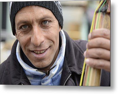 Metal Print featuring the photograph Street Musician - The Gypsy Bassist 1 by Teo SITCHET-KANDA