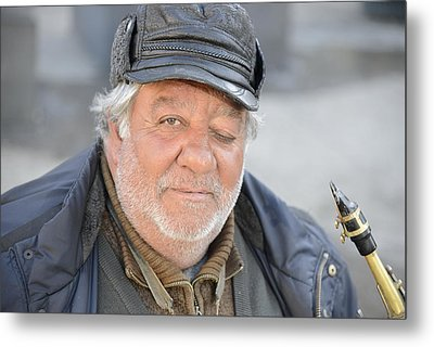 Metal Print featuring the photograph Street Musician - The Gypsy Saxophonist 2 by Teo SITCHET-KANDA
