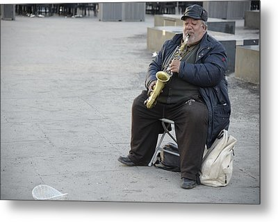 Metal Print featuring the photograph Street Musician - The Gypsy Saxophonist 3 by Teo SITCHET-KANDA