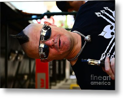 Street Performer Enjoying His Pipe Of Smoke 01 Metal Print by Bobby Mandal