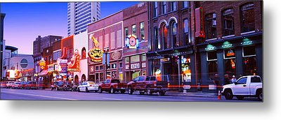 Street Scene At Dusk, Nashville Metal Print by Panoramic Images