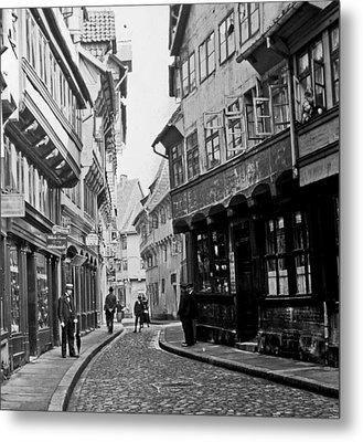 Metal Print featuring the photograph Street Scene Braunschweig Germany 1903 by A Gurmankin
