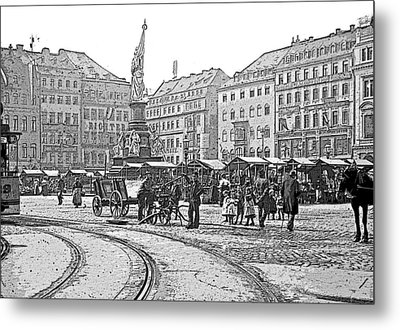 Metal Print featuring the photograph Street Scene Dresden Germany C1900 Vintage Poster Image by A Gurmankin