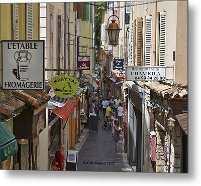 Metal Print featuring the photograph Street Scene In Antibes by Allen Sheffield