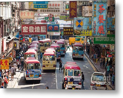 Street Scene In Hong Kong Metal Print