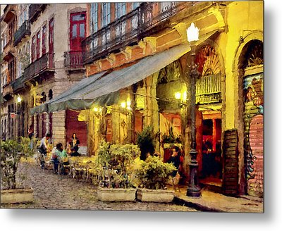 Street Scene In Yellow Metal Print by Celso Bressan