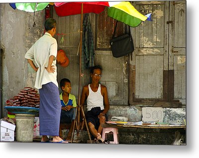 Street Seller Sitting In The Shade Under An Umbrella Yangon Myanmar Metal Print by Ralph A  Ledergerber-Photography