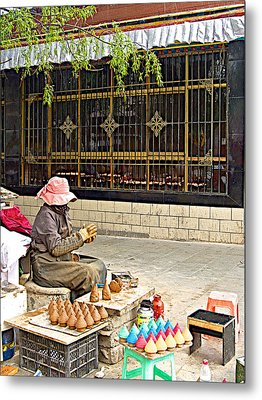Street Shopkeeper In Lhasa-tibet Metal Print by Ruth Hager