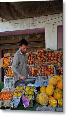 Street Side Fruit Vendor Islamabad Pakistan Metal Print by Imran Ahmed