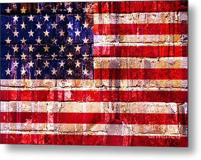 Street Star Spangled Banner Metal Print by Delphimages Photo Creations