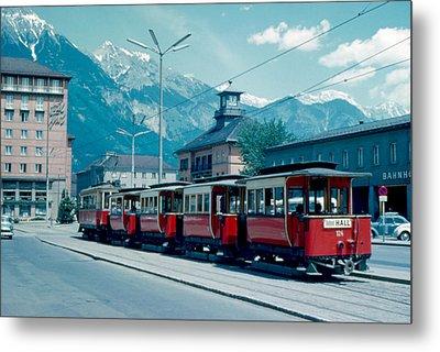 Street Train Innsbruck 1962 Metal Print by Cumberland Warden