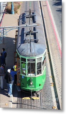 Streetcar At Pier 39 San Francisco California 5d26074 Metal Print by Wingsdomain Art and Photography