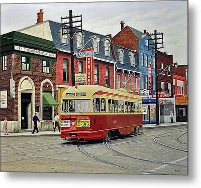 Streetcar On Queen Street 1963 Metal Print by Kenneth M  Kirsch