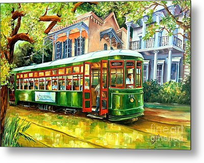 Streetcar On St.charles Avenue Metal Print