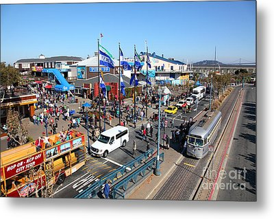 Streetcars At Pier 39 San Francisco California 5d26050 Metal Print by Wingsdomain Art and Photography