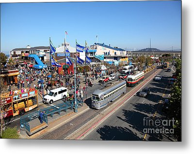 Streetcars At Pier 39 San Francisco California 5d26054 Metal Print by Wingsdomain Art and Photography