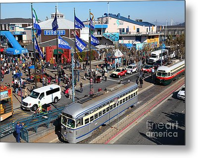 Streetcars At Pier 39 San Francisco California 5d26055 Metal Print by Wingsdomain Art and Photography