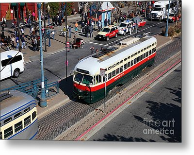 Streetcars At Pier 39 San Francisco California 5d26060 Metal Print by Wingsdomain Art and Photography