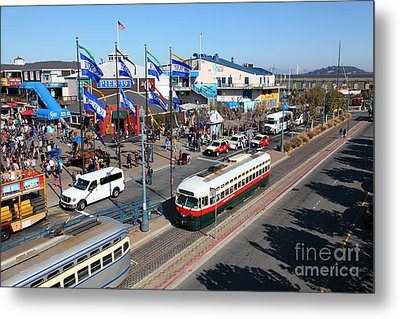 Streetcars At Pier 39 San Francisco California 5d26062 Metal Print by Wingsdomain Art and Photography