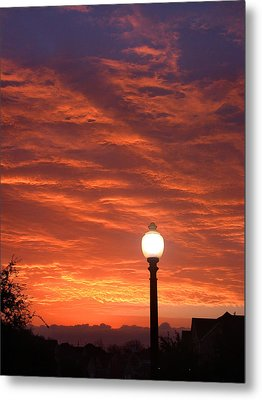 Streetlight Sunset Texas Metal Print by Tony Ramos