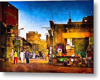 Streets Of An Egyptian Village Metal Print by Mark E Tisdale