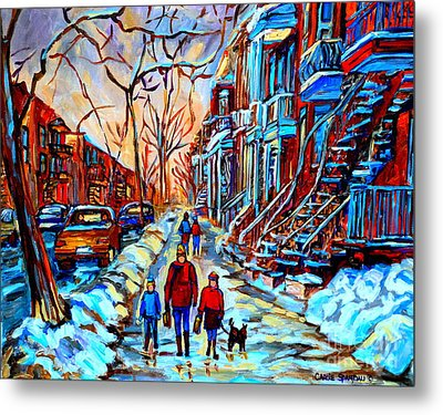 Metal Print featuring the painting Streets Of Montreal by Carole Spandau