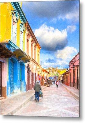 Streets Of San Cristobal De Las Casas - Colorful Mexico Metal Print