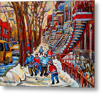 Streets Of Verdun Hockey Art Montreal Street Scene With Outdoor Winding Staircases Metal Print by Carole Spandau