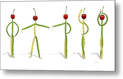 Metal Print featuring the photograph Stringbean Cherries Five Ballet Positions  by Donna Basile