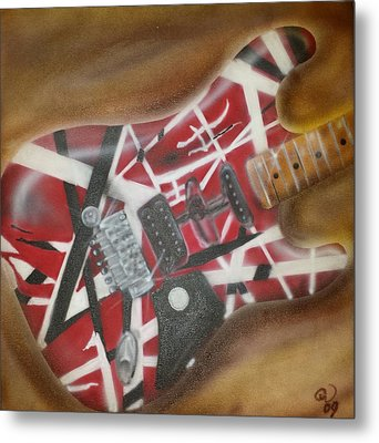 Striped Guitar Metal Print by Phillip Whitehead
