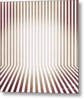 Striped Retro Wallpaper. Interior Background Metal Print