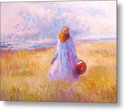 Stroll By The Sea Metal Print by Martha Sterling