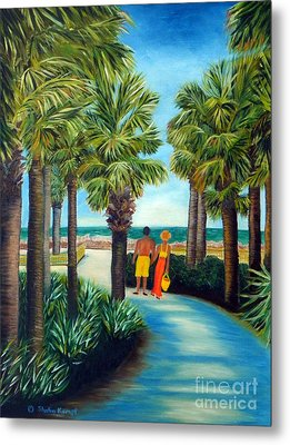 Metal Print featuring the painting Stroll In Paradise Plantation by Shelia Kempf