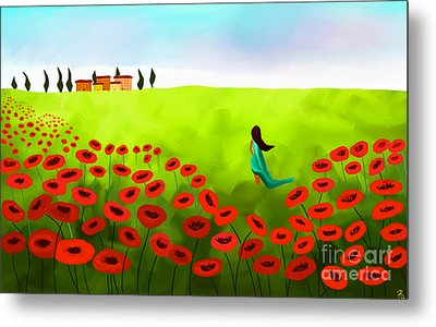Strolling Among The Red Poppies Metal Print