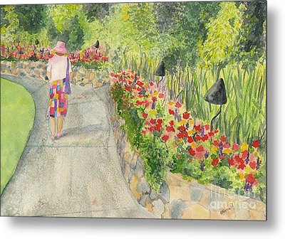 Metal Print featuring the painting Strolling Butchart Gardens by Vicki  Housel