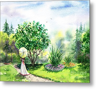 Strolling In The Garden Metal Print by Irina Sztukowski
