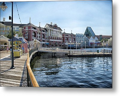 Strolling On The Boardwalk At Disney World Metal Print by Thomas Woolworth