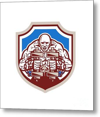 Strongman Lifting Dumbbells Shield Retro Metal Print by Aloysius Patrimonio