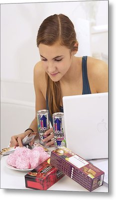 Student Eating Sugary Snacks Metal Print by Science Photo Library