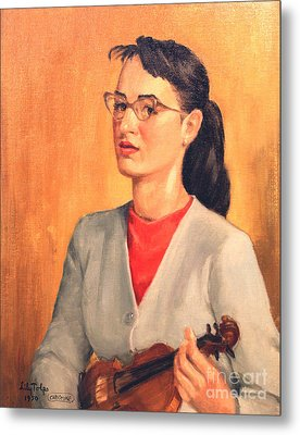 Student Of Violin Metal Print by Art By Tolpo Collection