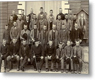 Students And Their Headmaster Metal Print by Underwood Archives