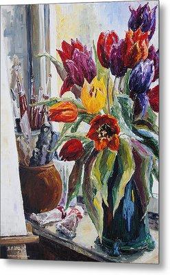 Studio Corner With Tulips Metal Print by Barbara Pommerenke
