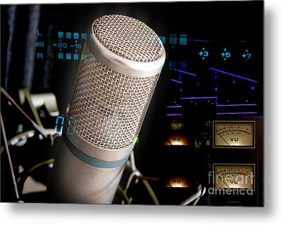 Metal Print featuring the photograph Studio Microphone And Recording Gear by Gunter Nezhoda