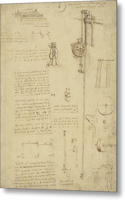 Study And Calculations For Determining Friction Drawing With Notes On Gardens Of Milanese Palace Metal Print by Leonardo Da Vinci