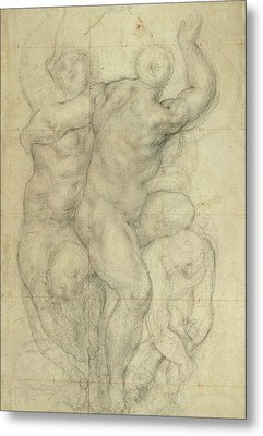 Study For A Group Of Nudes Metal Print by Jacopo Pontormo