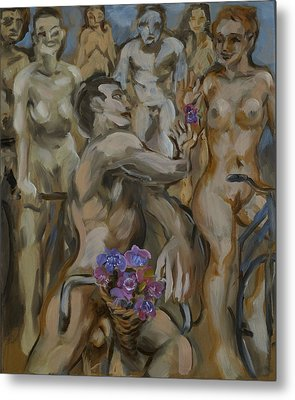 Study For Flowers On The Naked Bike Ride Metal Print by Peregrine Roskilly