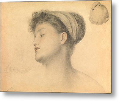 Study For Girl With Doves Metal Print by Anthony Frederick Augustus Sandys